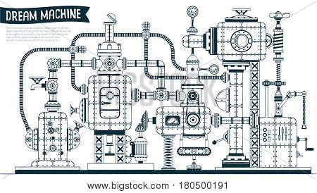 Complex fantastic steampunk machine or apparatus with many elements pipes wires valves. Drawn in contours in the doodle style. Vector illustration.