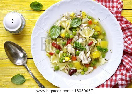 Vegetable Soup With Chicken.top View.