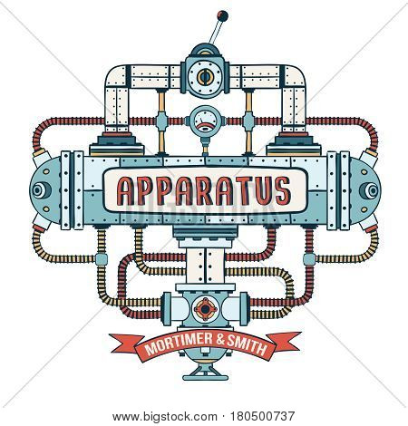Fantastic steampunk apparatus with pipes cables lever and valve. Colored Vector illustration.