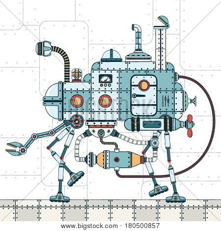 Walking metal machine with various pipes hoses devices and with mechanical arm. On an industrial background. Color vector illustration of a steampunk style.
