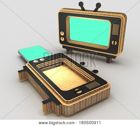 Stylized for the old TV case for modern smartphones. Art object. 3D illustration.