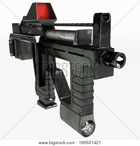 Modern automatic weapons pistol machine gun of a new pattern. It was developed taking into account all technical parameters. Design concept. 3D illustration.