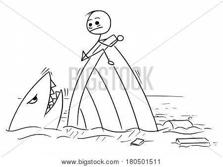 Cartoon vector stickman man holding on the ship wreck trying to stay far from the shark