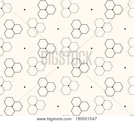 Honeycomb or molecular background seamless hexagons pattern modern vector illustration