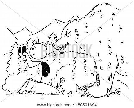 Cartoon vector stickman tourist is sitting on the rock taking a picture with camera in mountain while large huge bear stand behind him