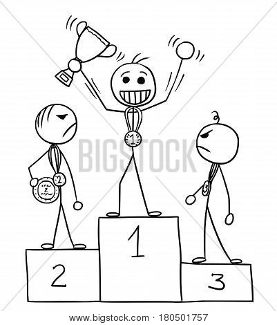 Cartoon vector stickman three males standing on the winners' podium rostrum winner is enjoying and celebrating losers are watching him in anger