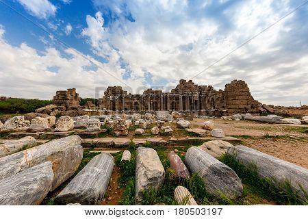 Ancient Side city agora, central hall ruins. Side, Antalya province, Turkey.