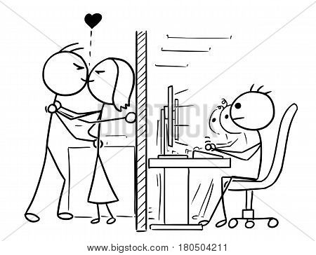 Cartoon vector doodle stickman man and woman couple in love kissing at office job work hidden from co-workers