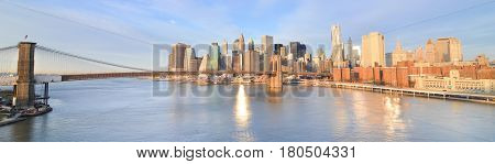 New York City at sunrise - Brooklyn Bridge and Lower Manhattan - New York, United States