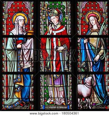Stained Glass In Sablon Church - Saints Joanna, Eugene And Agnes