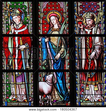 Stained Glass In Sablon Church - Saints Eugene, Agnes And Augustine