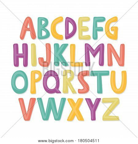 Cute and colorful childish hand drawn English alphabet. Suited for children's birthday invitation or other fun design.