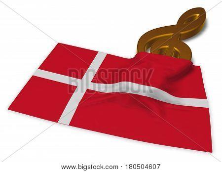 clef symbol and danish flag - 3d rendering