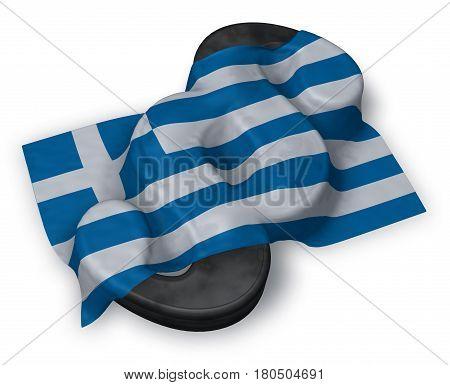paragraph symbol and greek flag - 3d rendering