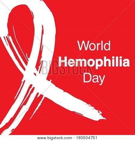 Hand drawn ribbon to World Hemophilia Day. Medical sign for 17 april. World hemophilia day awareness campaign ribbon.