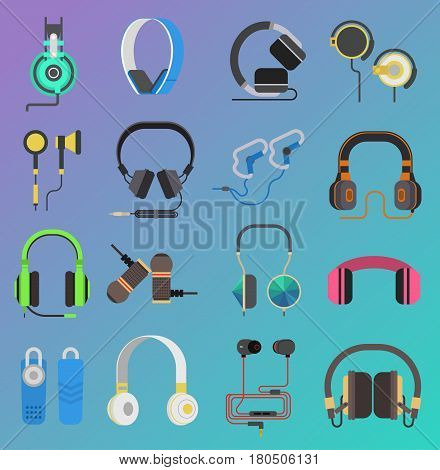 Vector colorful headphone icons set on white background. Volume earphone gadget device entertainment. Audio speaker accessory digital portable tool.