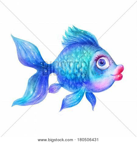 Cartoon Watercolor colorful blue fish illustrations isolated on white background. Colorful hand drawn vintage illustration. Perfect for kids cartoon magazine. Feng Shui talismans: fish.