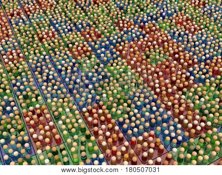Crowd of small symbolic figures red green and blue color squares 3d illustration horizontal