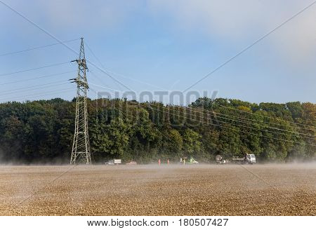 Electricity Pylon Is Build Up At The Field