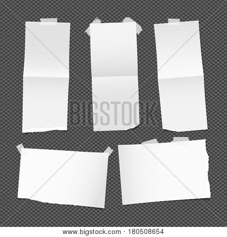 Unfolded ripped white card, note paper or blank brochure, leaflet with shadow stuck with sticky tape on dark background.