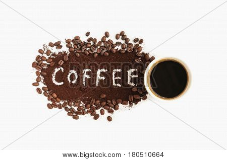 concept coffee cup and coffee beans on white background