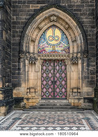 Ornamental doorway of the Saints Peter and Paul Cathedral in Vysehrad, Prague, Czech Republic