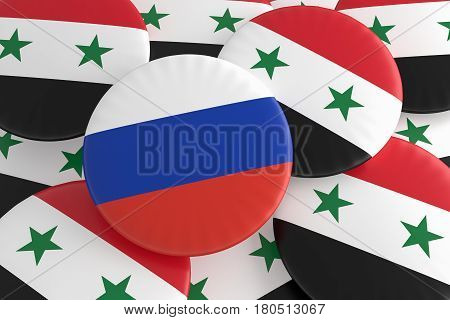 Syrian Civil War Concept Badges: Russia And Syria Flag Buttons 3d illustration