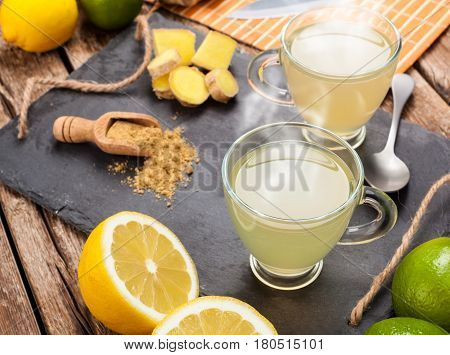 Drink With Ginger And Lemon.