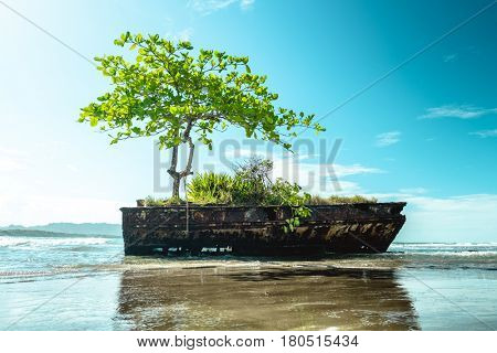 Remains of a ship at the beach on the Caribbean coast of Costa Rica