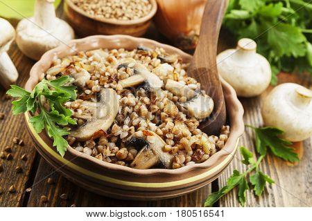 Buckwheat Porridge With Champignons