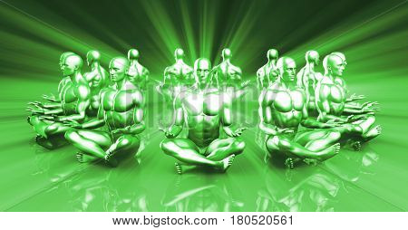 Spirituality and Enlightenment Through Rays of Light 3D Illustration Render