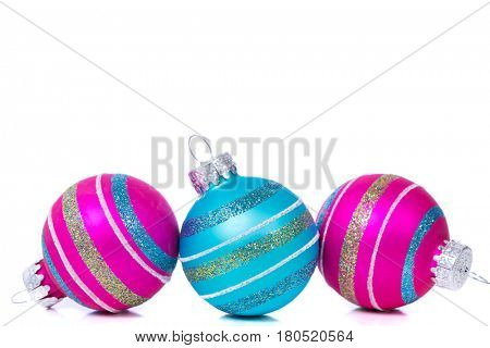 Christmas Decorations of Baubles on White background