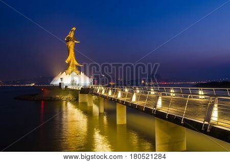 Statue of kun iam macau famous landmark of macau china