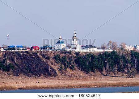 Abalak, Russia - May 2, 2010: Cvyato-Znamensky Abalak man's monastery on river Irtysh