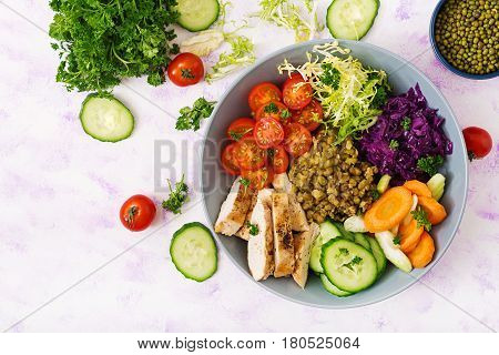 Healthy Salad With Chicken, Tomatoes,  Cucumber, Lettuce, Carrot, Celery, Red Cabbage And  Mung Bean