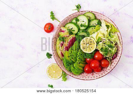 Diet Menu. Healthy Lifestyle. Vegan Salad Of Fresh Vegetables - Tomatoes, Cucumber, Watermelon Radis
