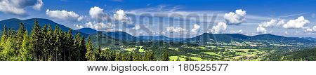 Panoramic view in the summer mountainous landscape Beskydy Mountains/Czech Republic/