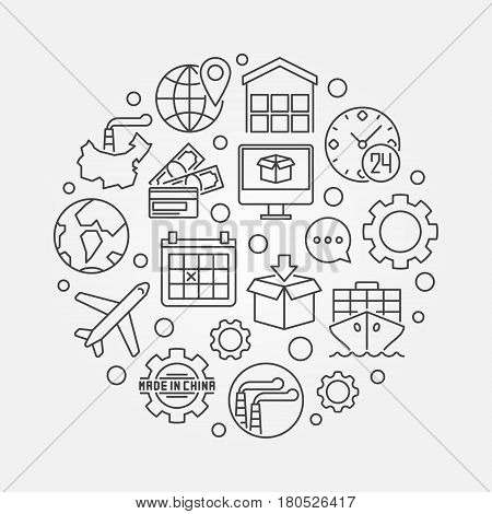 Commerce with china illustration. Vector circular chinese export and import outline concept symbol