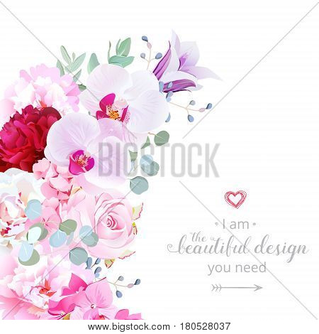 Luxury floral crescent shape vector frame with peony, orchid, rose, campanula, hydrangea, eucalyptus, blue berry. Pink, white, purple and burgundy red flowers. All elements are isolated and editable