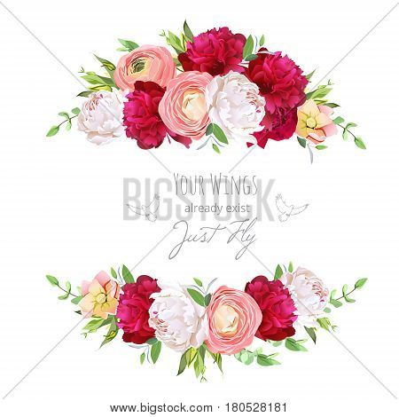 Burgundy red and white peonies, pink ranunculus, rose vector design frame.Delicate floral background. All elements are isolated and editable.
