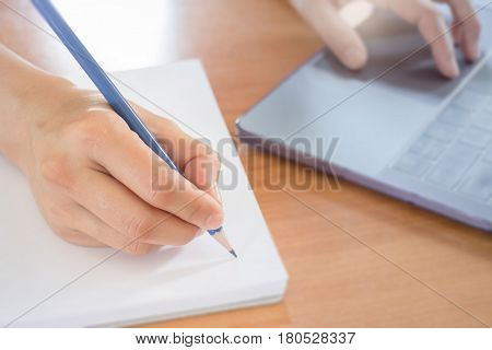 Hand Writing Note On Paper stock photo