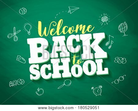 Back to school vector banner design with 3d title and drawings in green chalkboard texture background. Vector illustration.