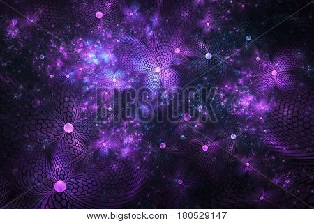 Abstract Exotic Blue And Purple Flowers With Textured Petals On Black Background. Fantasy Fractal De