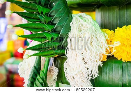 Rice offering for the worship in buddhism of Thailand