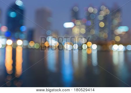 Bokeh light night view office building abstract background