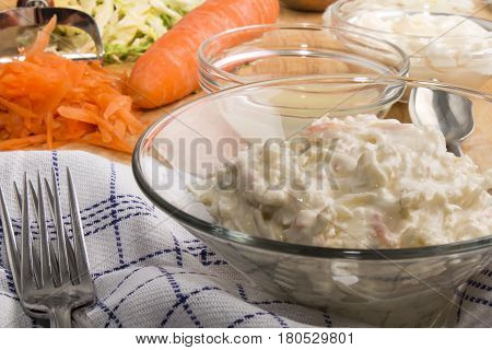 home made irish coleslaw in a glass bowl