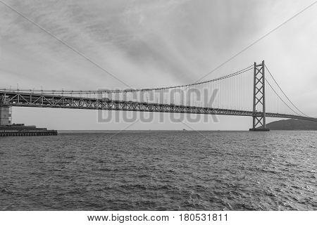Akashi Kaikyo Bridge Kobe Japan an the longest suspension bridge Black and White tone