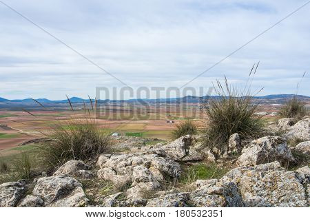 A Viewpoint At The Hill With A View To Fields And Mountains Near Consuegra Castilla La Mancha, Spain
