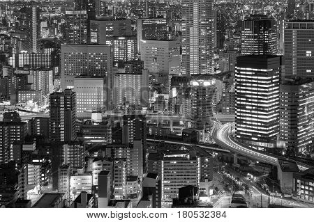 Black and White City office building night lights Osaka Japan