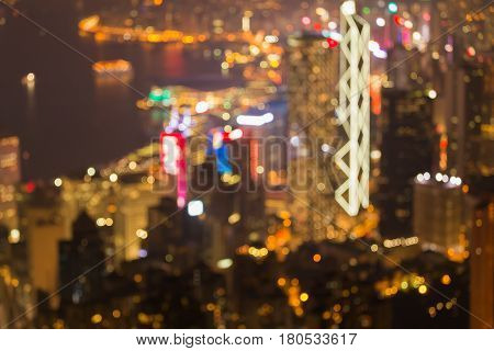 Blurred bokeh light Hong Kong city business downtown abstract background